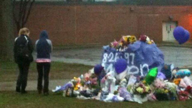 A makeshift memorial for Maren Sanchez at the high school continues to grow.