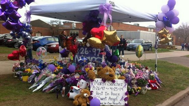 Maren's memorial at Law grows as hundreds filed in for tonight's vigil.