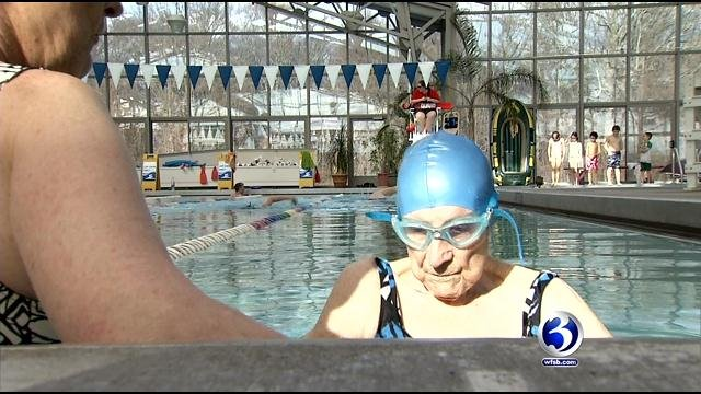 Margaret Wachs, 100, keeps busy by swimming at the YMCA pool in Milford. (WFSB photo)