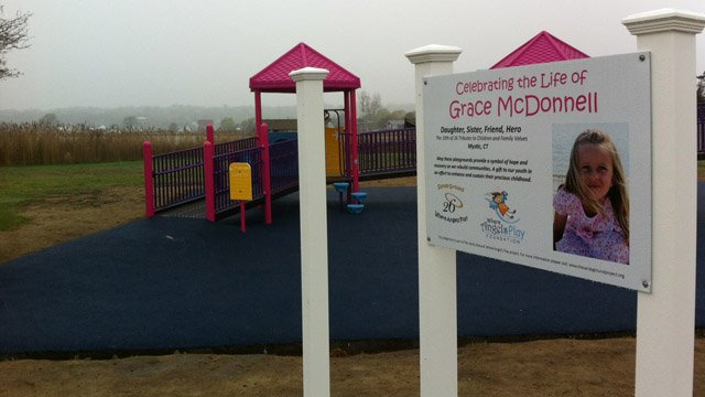 Police said someone claiming the Sandy Hook shooting was a hoax stole the sign to this park. (WFSB photo)