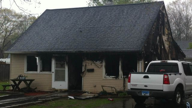 A fire gutted a home on Glen Place in Meriden Friday. (WFSB photo)
