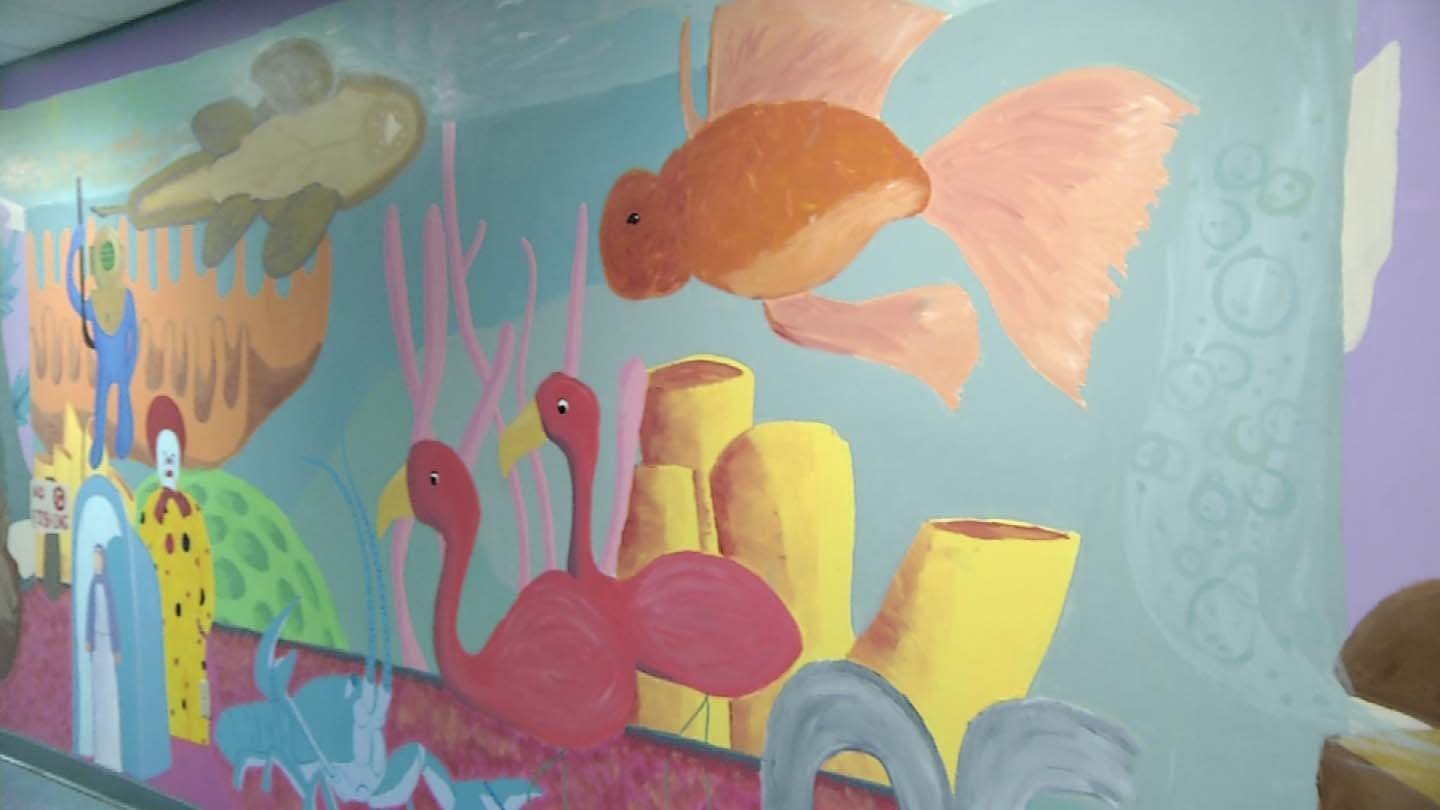 Murals like this one were being painted over at CCSU for expansion projects. (WFSB photo)