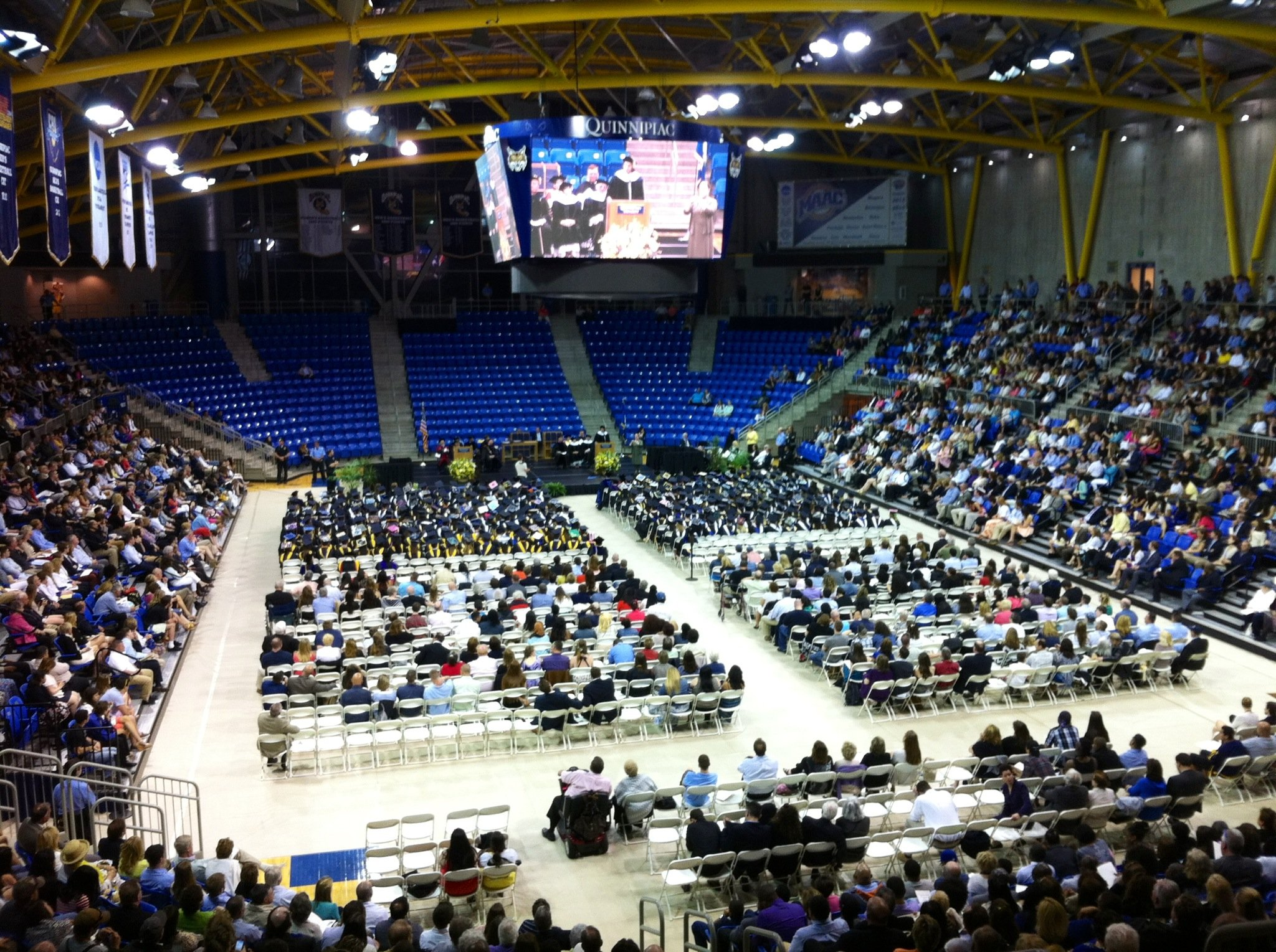 Quinnipiac University Arts and Sciences graduation was delayed because of bomb threats that were called in on Sunday afternoon.