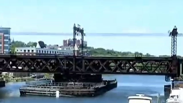 The Walk Bridge, over the Norwalk River in southwestern Connecticut, was stuck in the open position on Friday.