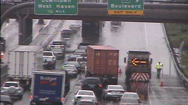 I-95 in New Haven is closed near Exits 46 and 45 because of flooding, state police said. (WFSB Photo)