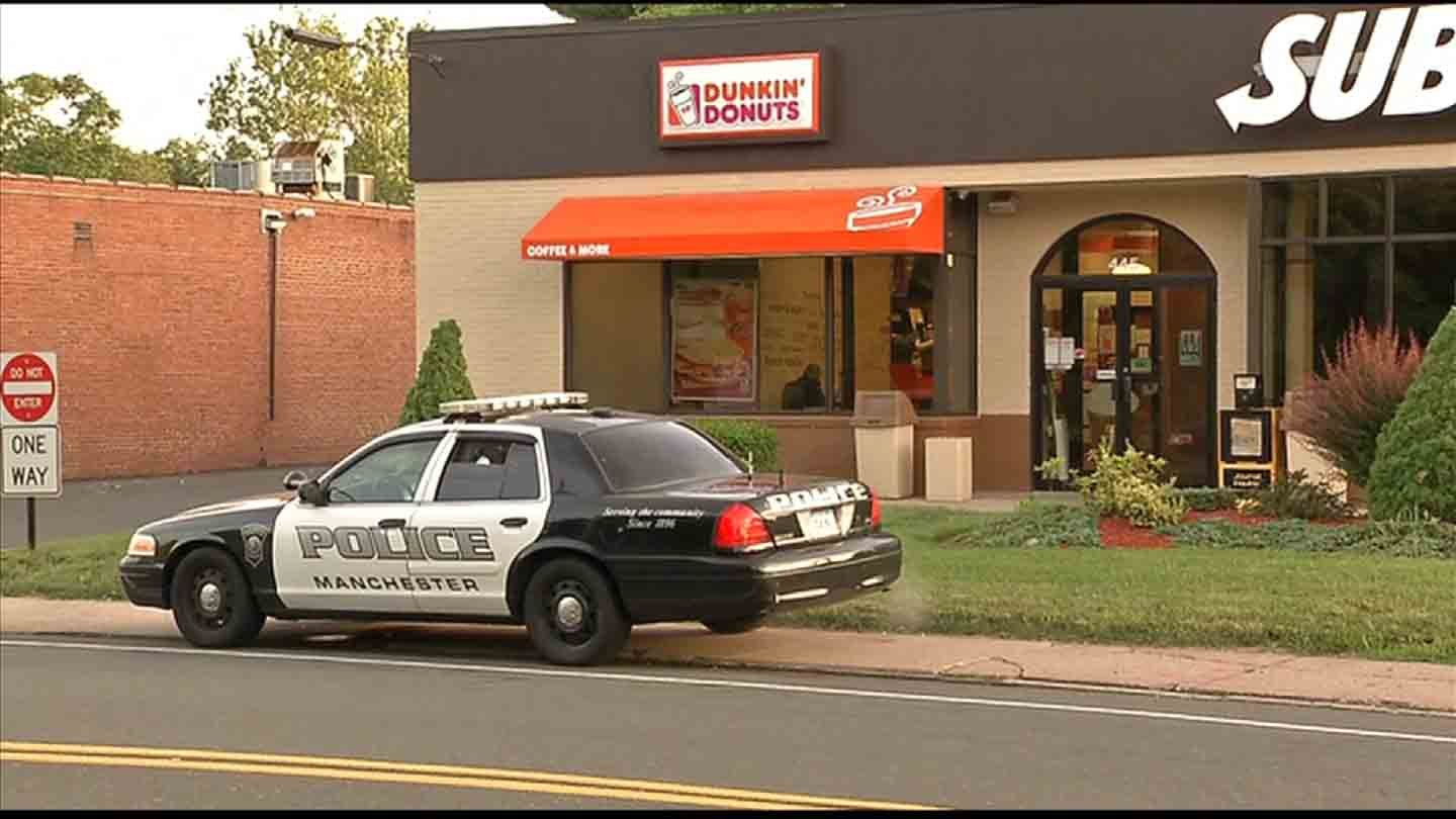 Police said a machete-wielding man robbed a Dunkin' Donuts on Hartford Road in Manchester. (WFSB photo)