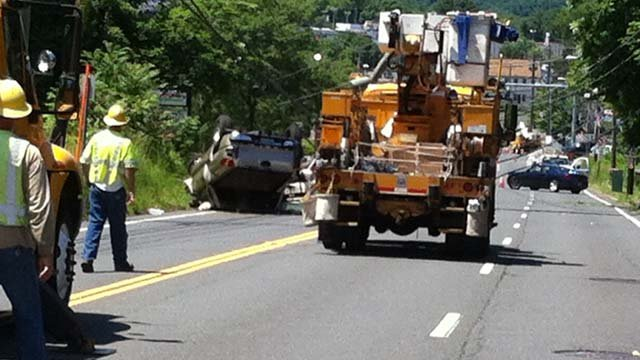 Route 6 was closed between Stafford Avenue and Camp Street because of a rollover crash. (iWitness photo)