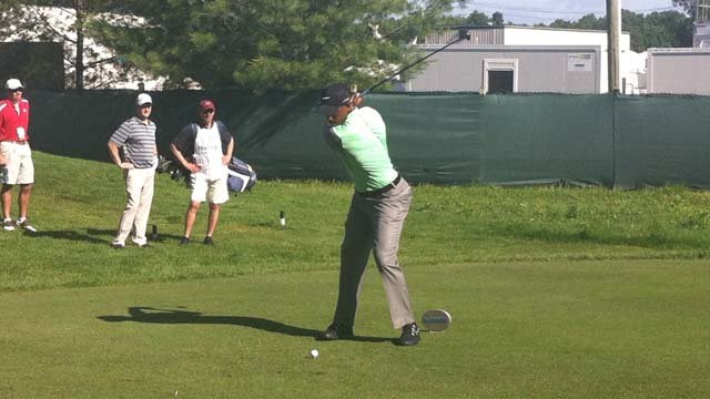 Kevin Ollie teed off Wednesday at the Travelers Celebrity Pro-Am. (WFSB photo)