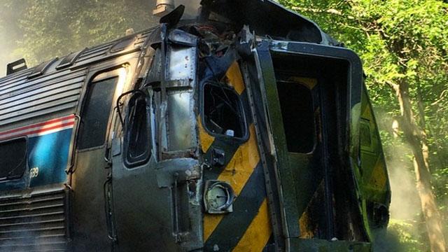 A motor vehicle crashed into a train on Monday morning. (Photo Courtesy: Derik Kumagai)