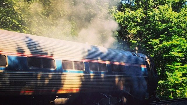 Amtrak train catches on fire after crashing into motor vehicle. (Photo Courtesy: Michael Mohammadi)