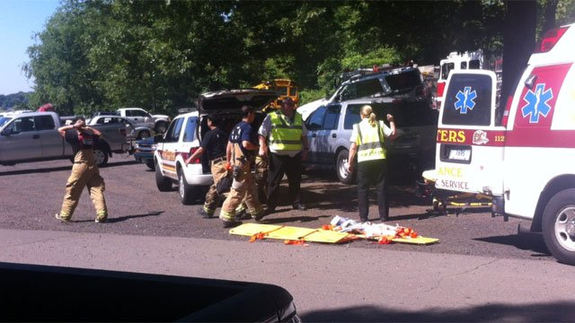 Two people were injured in the train crash. (@WFSB Photo)