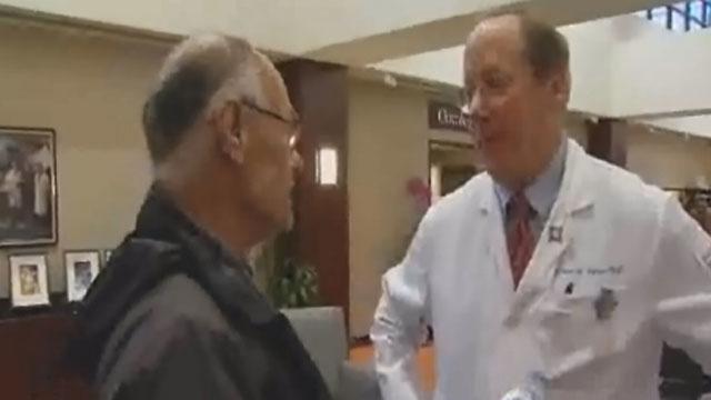 Avi Elnekave talks with Dr. Joseph Wagner, of Hartford Hospital.
