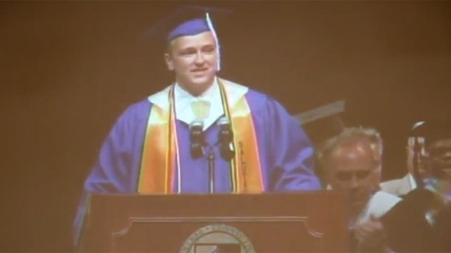 Senior Greg Corning gave a unique speech at his graduation. (YouTube photo)