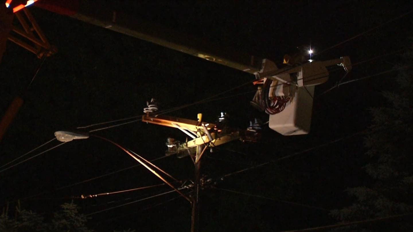 Power was restored in Waterbury following Monday's storms. (WFSB photo)