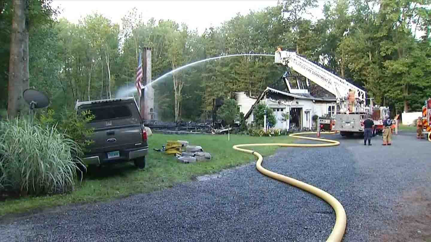 A home on Poole Road was destroyed in Suffield. (WFSB photo)