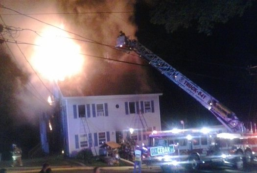 One firefighter was taken to the hospital for treatment after a fire in Vernon. (WFSB Photo)