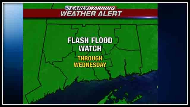 A flash flood watch remains in effect for all of Connecticut through Wednesday.  (WFSB Graphic)