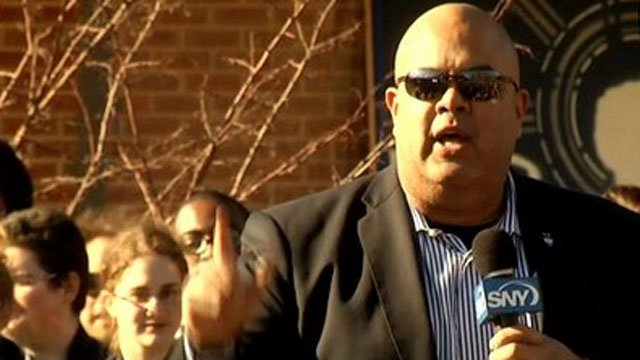 UConn athletic director Warde Manuel speaks at the Women's basketball team's rally. (WFSB File Photo)
