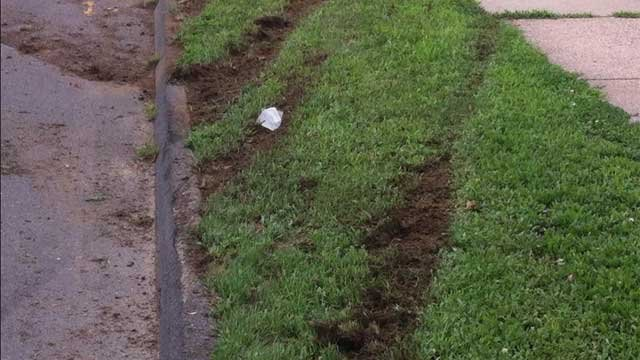 Clear tire tracks in the grass from when the car lost control.(WFSB Photo)