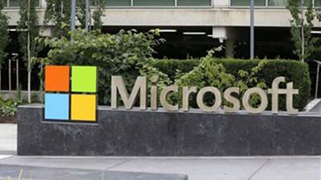 The Microsoft Corp. sign outside the Microsoft Visitor Center in Redmond, Wash. (AP FIile Photo)