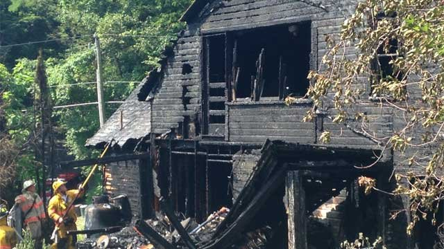 A home on Park Road in Watertown was destroyed after a fire on Tuesday morning. (WFSB Photo)