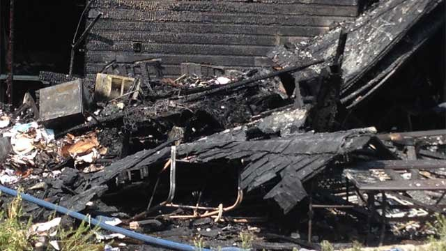 Debris from a home after a fire in Watertown on Tuesday morning. (WFSB Photo)