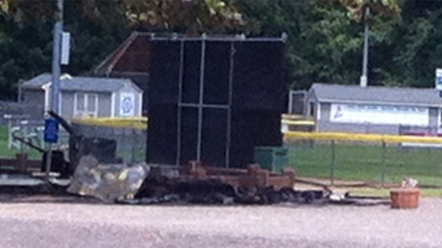 Shed used by Avon Little League was destroyed by fire on Wednesday morning. (WFSB Photo)