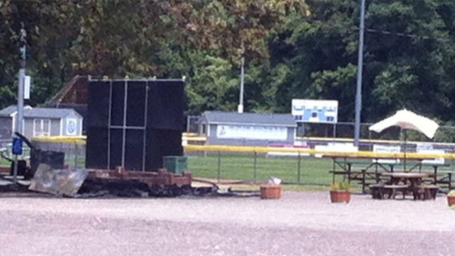 Authorities try to investigate the cause of a fire that destroyed a shed used by Avon Little League on Wednesday morning. (WFSB Photo)