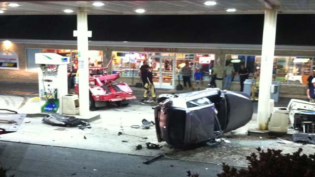 A car slammed into a gas pump at this BP in Shelton. (WFSB photo)