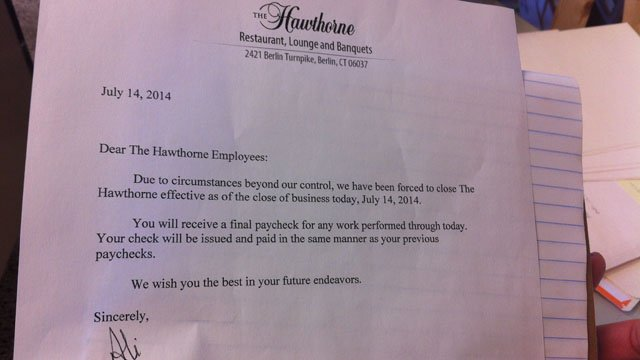 A letter issued to employees. (WFSB photo)