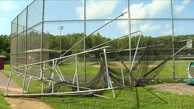 A batting cage was damaged at Wolcott High School. (WFSB photo)