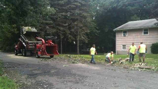 Public works crews were out with a wood chipper on Monday. (WFSB photo)