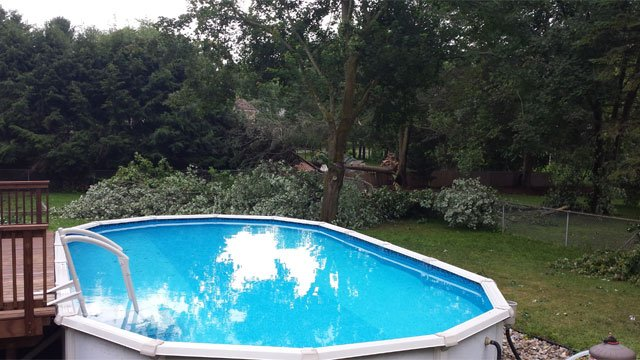 Storm was so strong it moved a trampoline from one side of the yard to the other side at a home on Graham Road in South Windsor (iWitness Photo)