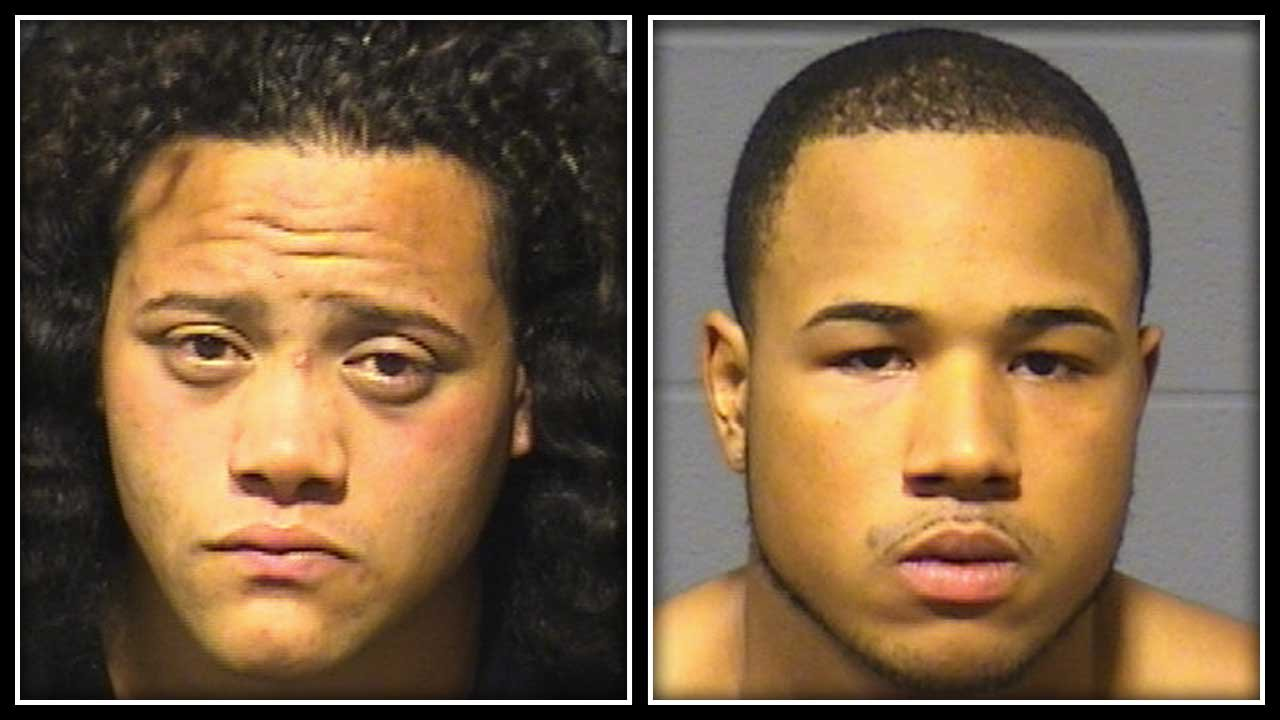 Wilfred Rodriguez (left) and Kevin Miller (right) were arrested for assault and robbery. (Hartford police photo)