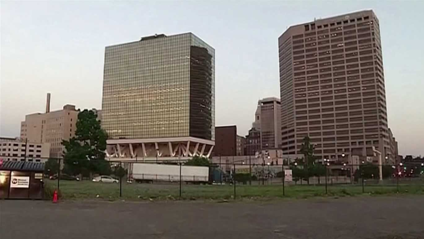 The downtown north site of the proposed stadium. (WFSB photo)