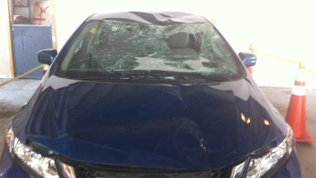 This vehicle hit the trooper and another motorist on I-91 in Hartford on Thursday night. (WFSB Photo)
