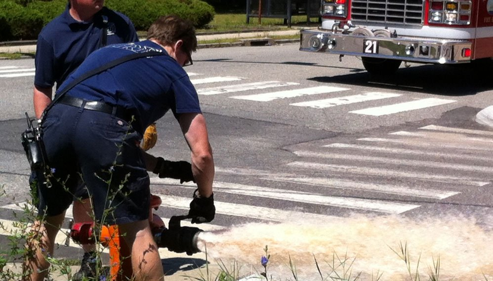 New London firefighters check the water pressure at a hydrant. (WFSB Photo)