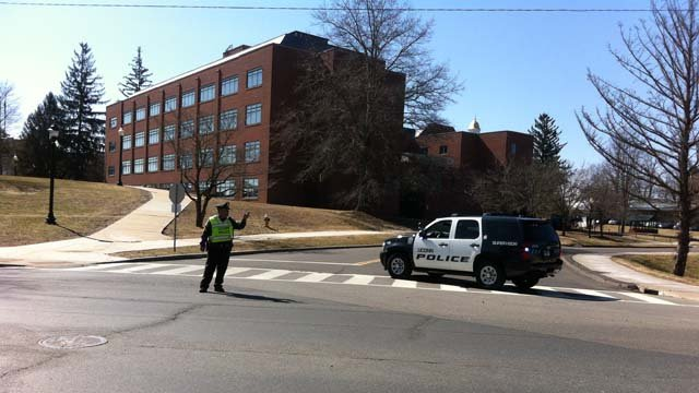UConn police blocked off roads back in April for a similar threat to the Tasker building. (WFSB file photo)