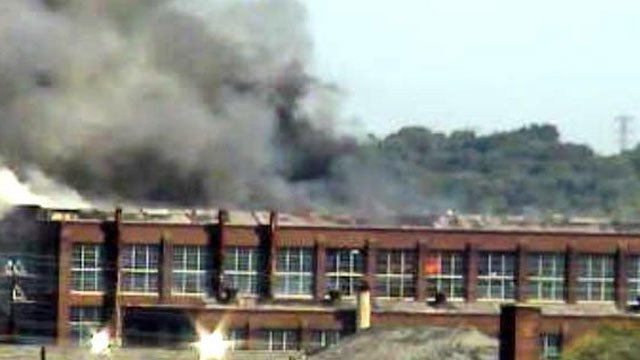 Fire reported at the former Remington Factory building in Bridgeport on Tuesday morning. (CT DOT Photo)