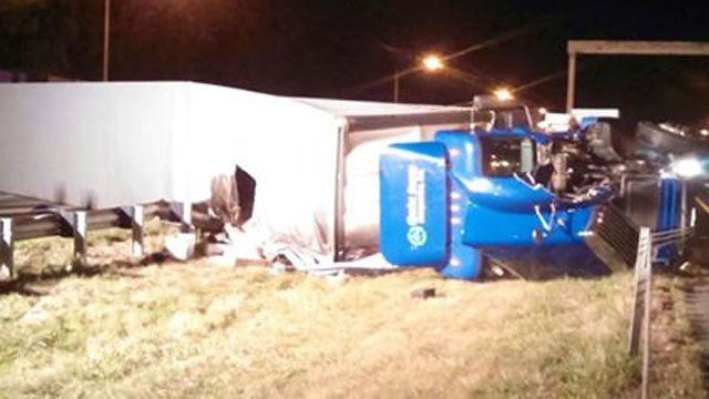 A tractor trailer overturned on I-91 in Wethersfield on Tuesday night (iWitness Photo)