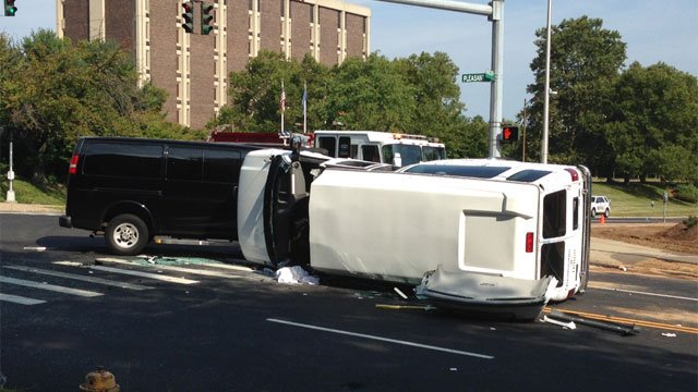 Two vans collide in the area of  Pleasant and Windsor streets in Hartford on Wednesday morning. (WFSB Photo)