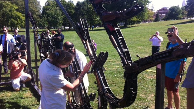 People viewed the Raise the Caliber campaign tribute monument on Wednesday afternoon. (WFSB photo)