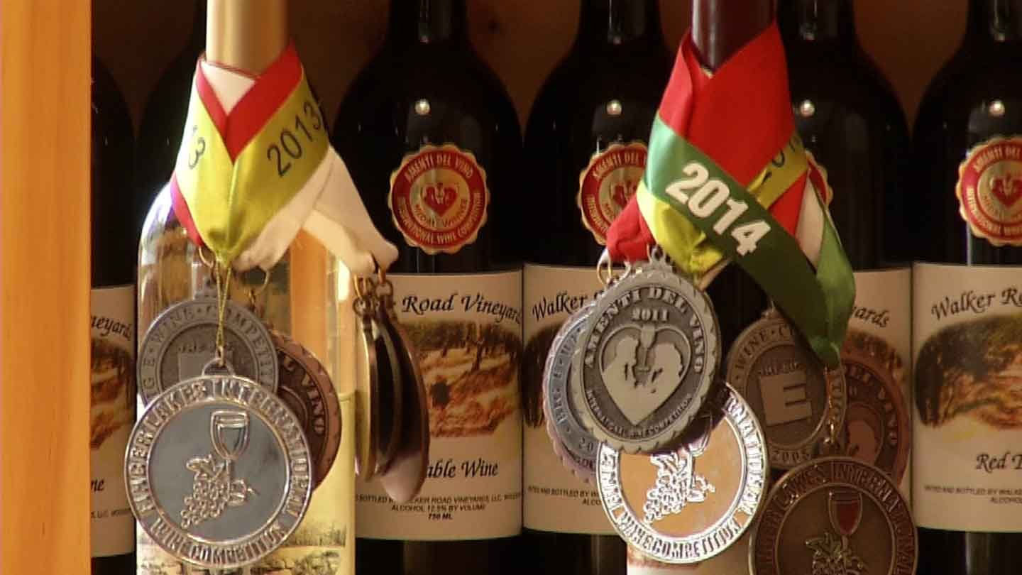 A few of the medals earned by Walker Road Vineyard in Woodbury. (WFSB photo)