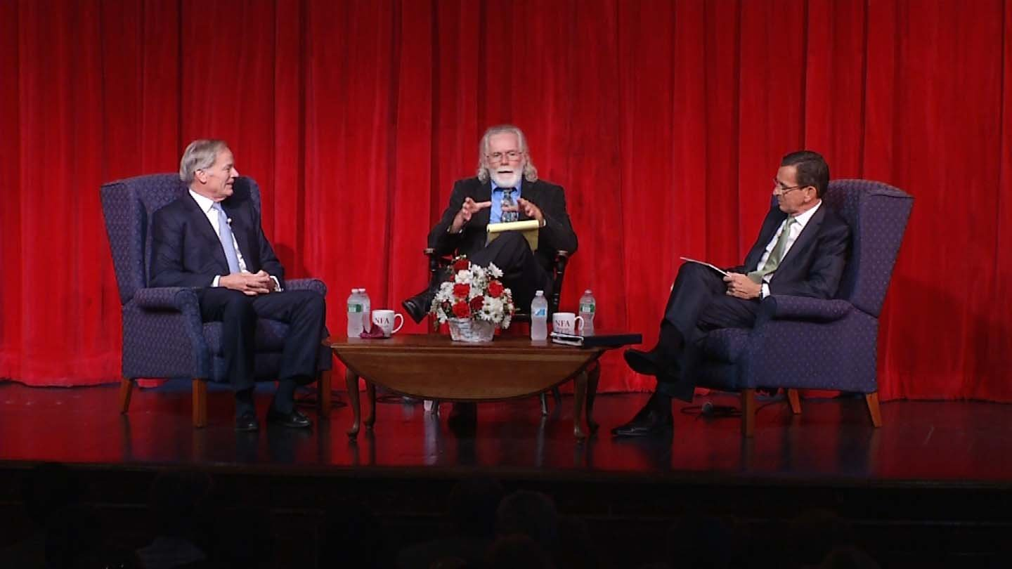 Republican Tom Foley, moderator Ray Hackett and Gov. Dannel Malloy at their first debate in August. (WFSB file photo)