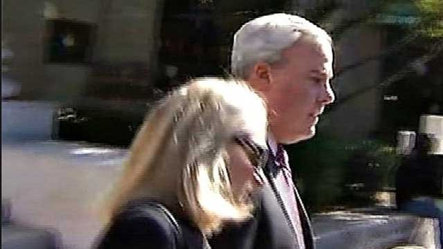 John Rowland made no comment after leaving Federal Court following his conviction on campaign finance fraud charges. (WFSB photo)