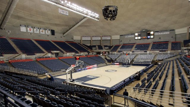Both the University of Connecticut's men's basketball team and its women's team must share the Gampel Pavilion basketball court seen here Wednesday, Jan. 10, 2007, on the university's campus in Storrs, CT for practice time. (AP Photo/Bob Child)