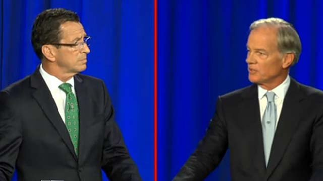 Gov. Dannel Malloy and Republican challenger Tom Foley at a recent debate.