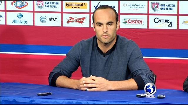 Landon Donovan meets with the press before his game with USA soccer team.