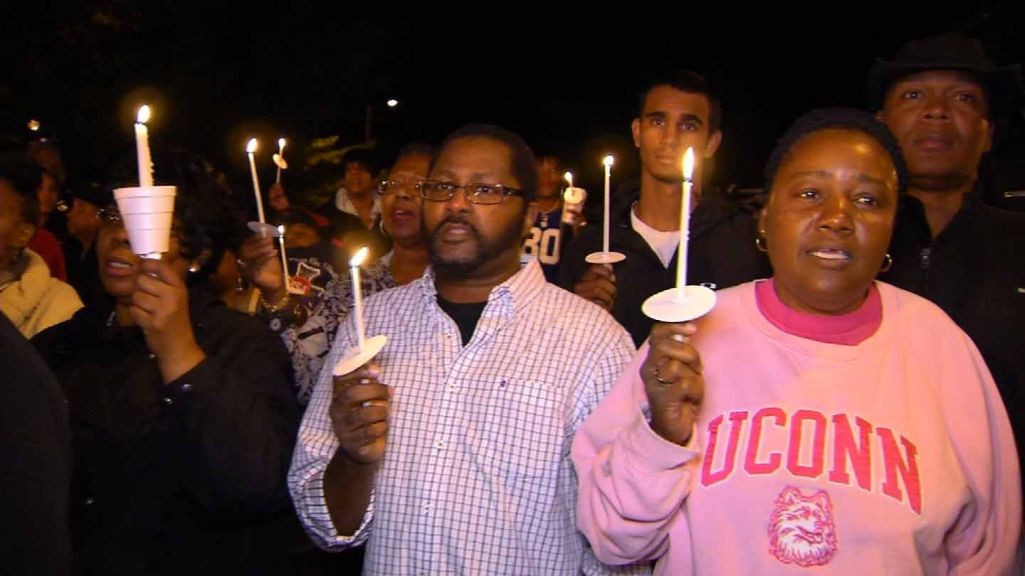 Family and friends gathered to remember Kevin Bell Sunday night in Hartford. (WFSB photo)