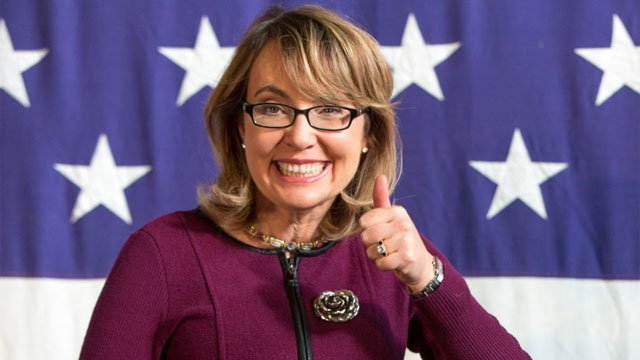 This Oct. 27, 2013 file photo shows former U.S. Rep. Gabby Giffords (D-Ariz.), at a fundraiser for U.S. Senate candidate Bruce Braley during the Bruce Blues & BBQ at the Iowa State Fairgrounds in Des Moines, Iowa.